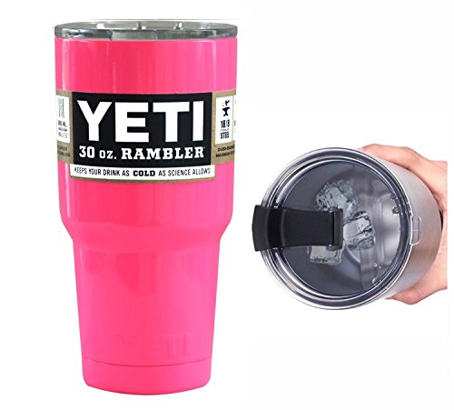YETI Coolers 30 Ounce (30oz) (30 oz) Custom Rambler Tumbler Cup Mug with Exclusive Spill Resistant Lid (Hot Pink Neon)