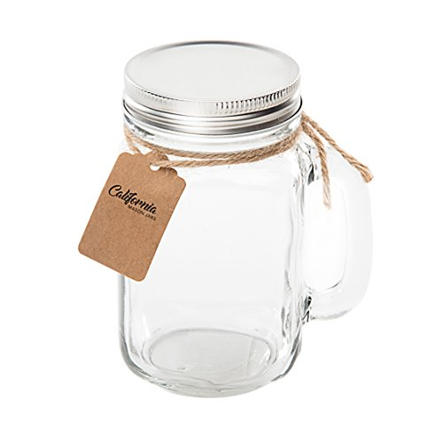 6 Pack - Vintage Mason Jar Mugs with Chalkboard Labels and Tin Lids, Mason Mugs with Handles for Weddings, Candle Jars, Party Favors, 16oz, by California Home Goods by California Home Goods (Image #5)