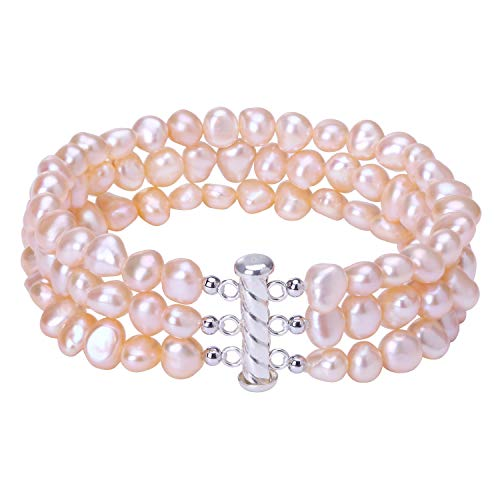 - 3 Strands Cultured Freshwater Pink Pearl Bracelet 925 Sterling Silver Bangle Handmade Beaded Bridal Jewelry for Women 7.5