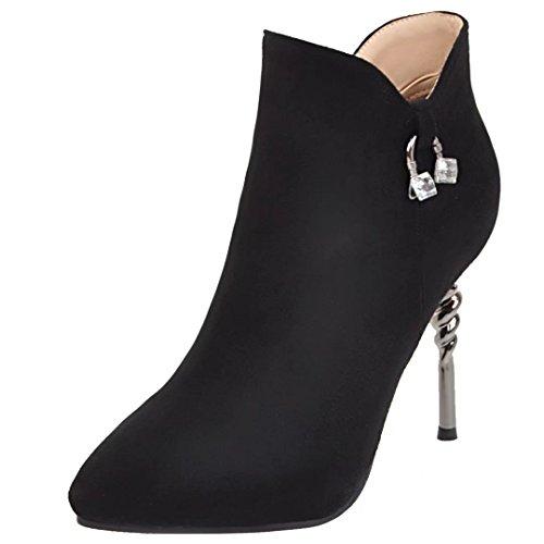 AIYOUMEI Damen Herbst Winter Stiletto Stiefeletten mit Reißverschluss und Strass Modern Kurzschaft Stiefel Schwarz