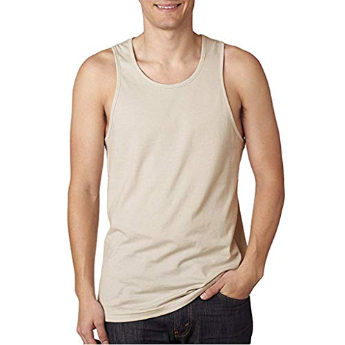 WUAI Mens Workout Fitness Tank Tops Casual Muscle Bodybuilding Jogging Athletic Shirts Tops Plus Size(Khaki,US Size S = Tag M)