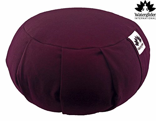 Zafu Yoga Meditation Pillow with USA Buckwheat Fill, Certified Organic Cotton- 6 Colors (Plum)