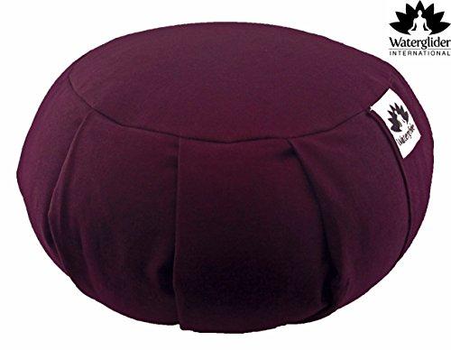 Zafu Yoga Meditation Pillow with USA Buckwheat Fill, Certified Organic Cotton- 6 Colors (Plum)