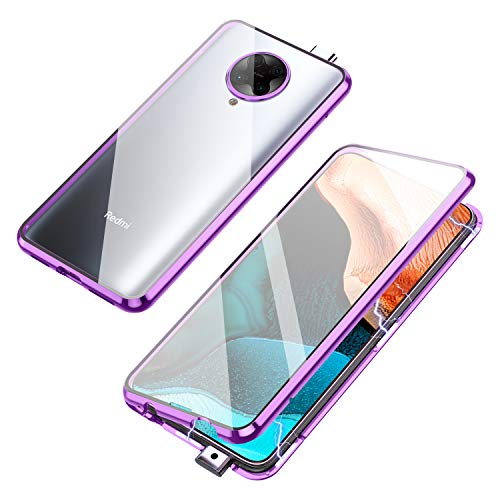 Compatible with Xiaomi Poco F2 Pro/Redmi K30 Pro Case, Jonwelsy 360 Degree Front and Back Transparent Tempered Glass Cover, Strong Magnetic Adsorption Technology Metal Bumper for K30 Pro (Purple)