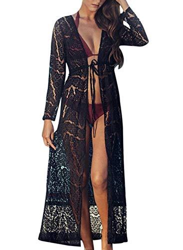 Chunoy Women's Long Flowy Lace Kimono Cardigan Boho Style Summer Beach Open Cover Ups Black