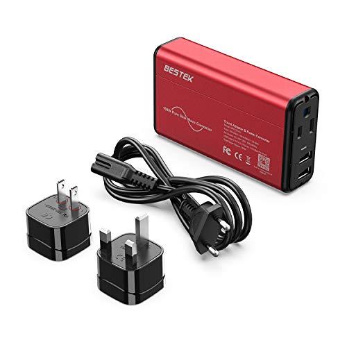 [Pure Sine Wave] BESTEK Travel Converter Adapter 220V to 110V Power Voltage Converter 0-2.4A Dual Smart USB UK/AU/US Worldwide Plug (Red-Black) ()
