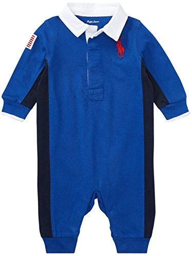 Pieced Rugby Shirt (Ralph Lauren Baby Boys Cotton Jersey Rugby Coverall (College Royal, 12 Months))