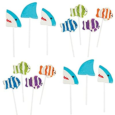 Fun Express 24 pack Pool Ocean Party UNDER THE SEA - 12 each- Shark and Clown Fish lolipops