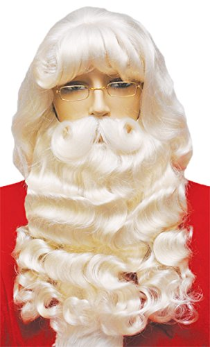 UHC Men's Santa Wig & Beard Set w/ Mustache 007 Holiday Theme Party Christmas by Ultimate Halloween Costume
