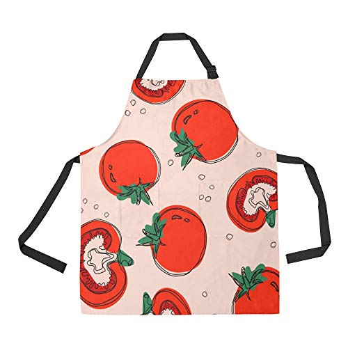 NQEONR Durable Tomato Vegetable Red Design Ideas All Over Print Apron with an Adjustable Neck&Two Spacious Front Pocketst Unisex Kitchen Home Restaurant Apron for Baking -