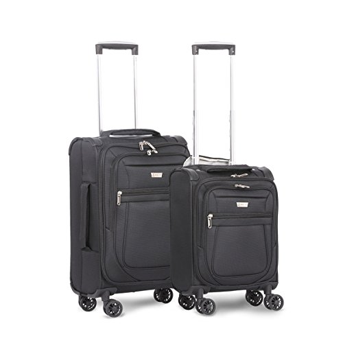 """Aerolite Carry On 21"""" & Underseat 17 Inch Ultra-Lightweight Spinner Suitcase Set for Delta, American, United & Southwest Airlines (Black)"""