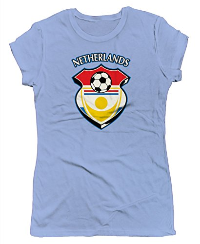 Netherlands Country Soccer Shield Junior's T-shirt, SpiritForged Apparel, Light Blue (Limburg Light)