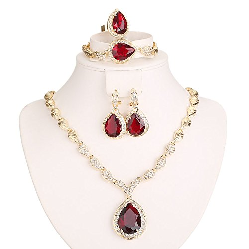 [Women Gold Plated Red Cubic Zirconia Jewelry Set Crystal Necklace Earring Bracelet Ring] (Unique Costume Jewelry Rings)