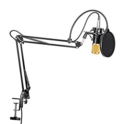 Neewer Professional Studio Broadcasting Recording Condenser Microphone & NW- 35 Adjustable Recording Microphone Suspension Scissor Arm Stand with Shock Mount and Mounting Clamp Kit by Neewer