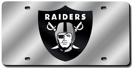 Oakland Raiders Laser Cut Silver License - Silver Raiders Laser Oakland