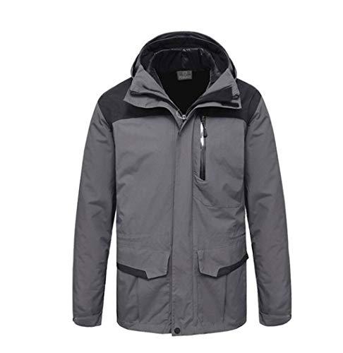 3-in-1 Jacket Camping Hiking Windproof Waterproof Detachable Warm Cotton Liner Gray