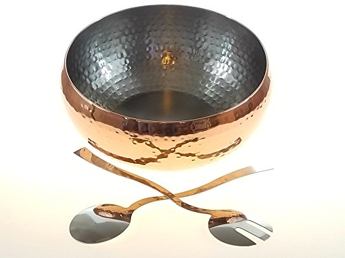 3pc Copper Accented Hammered Salad Bowl with 2 Serving Utensils - Complete With Matching Oversized Spoon and Fork - Use as a Salad Bowl, Fruit Bowl or Even For Pasta - Elegant and Stylish Serving Bowl