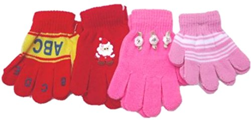 Set of Four Pairs One Size Stretch Magic Gloves for Children Ages 1-4 Years Red,Black,Purple and Pink, with the bear emblem. by Sanjit
