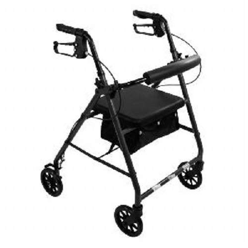 Aluminum Rollator Rolling Walker with Medical Curved Back Soft Seat Light Weight (Black)