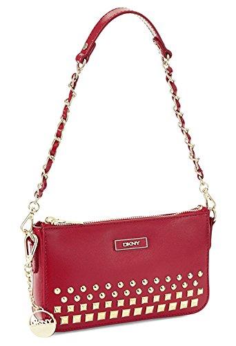 DKNY Donna Karan Red Shiny Saffiano Studded Small Crossbody Shoulder - Body Cross Dkny Bag
