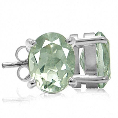 3.6ct. Natural Green Amethyst 925 Sterling Silver Stud Earrings (Green Amethyst Earrings Silver)