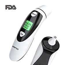 Ear and Forehead Thermometer, Clinically Tested Upgraded Medical Infrared Lens on Improved Accuracy, CE & FDA Approved for Baby and Adult, Instant Read and Easy to Use - No Disposable Cover Needed.