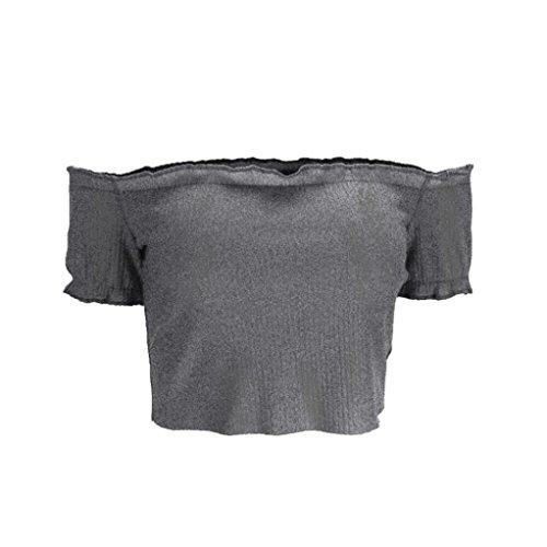 ... MCYS Damen Schulterfrei Kurzen Ärmeln Freizeit Party Strand Lose Tops T-Shirt  Bluse Grau sFWF8PDEd3. » » 556737175d
