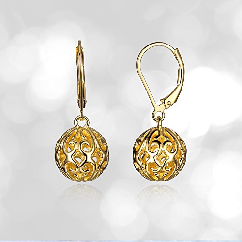 Plated Sterling Silver Filigree Ball Leverback Dangle Earrings