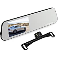 AUTO-VOX M6 Backup Camera and Monitor Kit 4.5 IPS Touch Screen Full HD 1080P Mirror Dash Cam with IP 68 Waterproof LED Night Vision Reverse Rear View License Plate Back up Car Camera