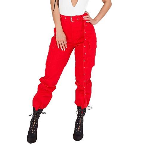 - JJLIKER Women Solid Multi Pockets Cargo Pant Casual Work Combat Trousers High Waist Hip Hop Dance Harem Leggings Red