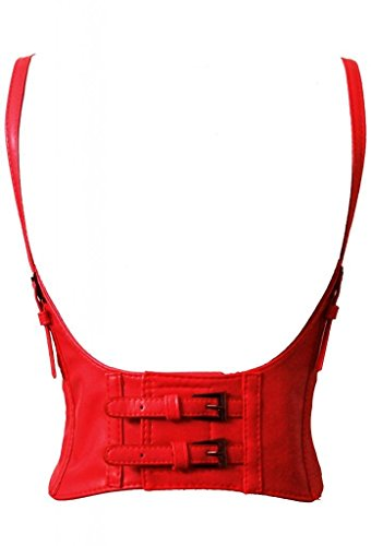 Leather Corset Red (Alivila.Y Fashion Faux Leather Underbust Waist Belt Corset AS577-Red-S)