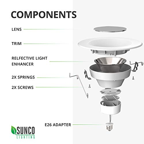 Sunco Lighting 12 Pack 5/6 Inch LED Recessed Downlight, Baffle Trim, Dimmable, 13W=75W, 5000K Daylight, 965 LM, Damp Rated, Simple Retrofit Installation - UL + Energy Star by Sunco Lighting (Image #8)