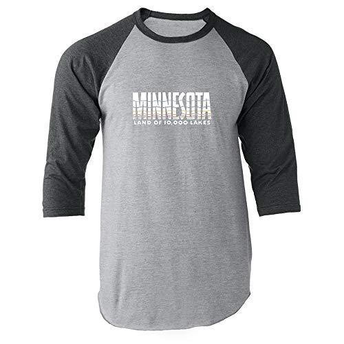 - Minnesota Land of 10000 Lakes Retro Vintage Travel Gray L Raglan Baseball Tee Shirt