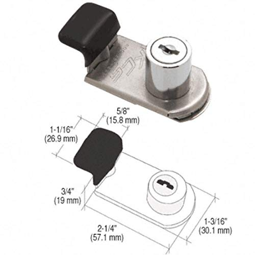 CRL Chrome SlideGuard Keyed 'Z' Door Lock for Glass, Metal and Plexi SLGZ14 by CR Laurence (Image #2)
