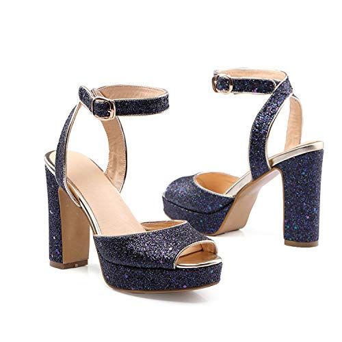 world-palm pumps Glitter Platform Shoes Buckle Summer high Heels Sandals Women Shoes Party Shoes Big Size 34-46,Blue,14