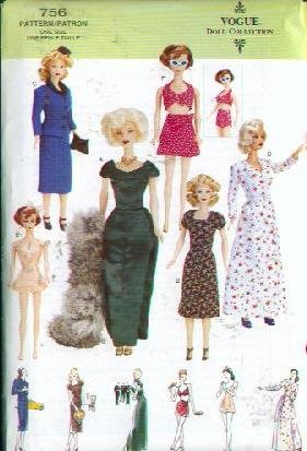 Vogue 7421 - Vintage Doll Clothes Patterns - Circa 1945 for Fashion Dolls - 11.5-Inches (Vogue Doll Collection, Also sold as Vogue 756) (11.5