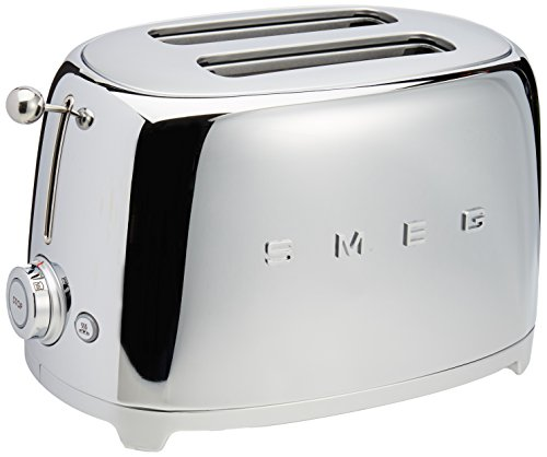 2 Slice Toaster Cream Chrome: Smeg 2-Slice Toaster-Chrome Toasters Small Kitchen