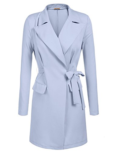 GEESENSS Women's Casual Open Front Cardigan Trench Coat Jacket With (Blue Trench Coat)