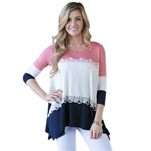 WEIJU Women's Tunic Elegant Floral Tops Lace T-Shirts by WEIJU