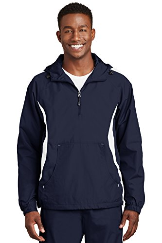 - Sport-Tek Men's Colorblock Raglan Anorak 3XL True Navy/White