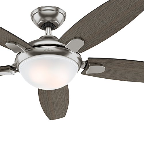 Hunter Fan 54 inch Contemporary Ceiling Fan in Brushed Nickel with LED Light and Remote (Renewed) (Brushed Nickel)