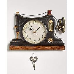 LTD Retro Metal Pendulum Wall Clock, Sweing Machine