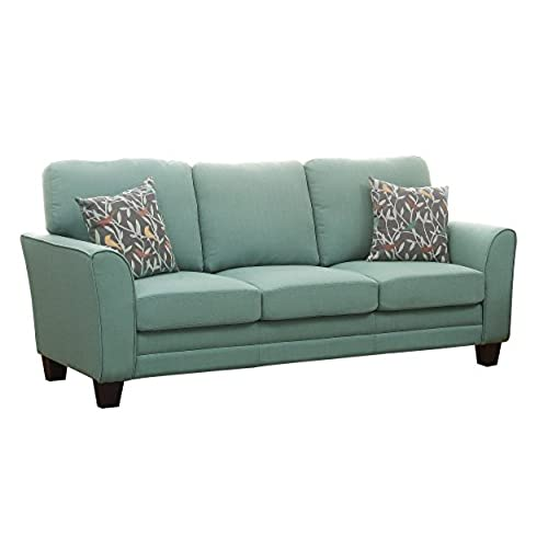 Homelegance 8413TL 3 Fully Upholstered With Piping Trim Linen Like Fabric Teal  Sofa