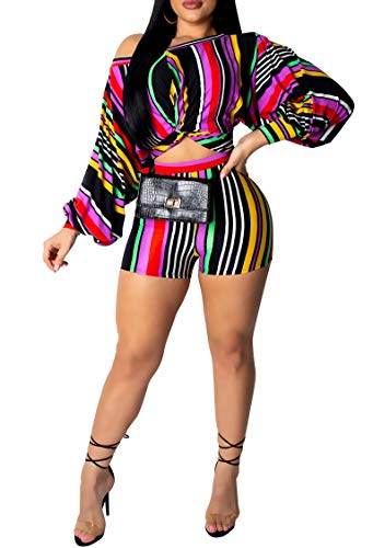 Blansdi Women Stripe Print 2 Piece Outfits Rompers Long Puff Sleeve One Off Shoulder Crop Top Shorts Set Jumpsuit Colorful Small
