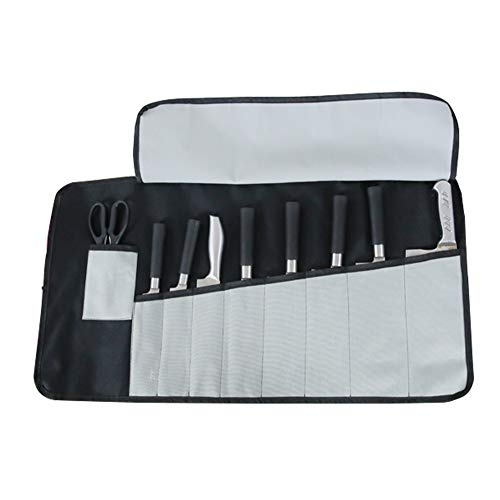 Chef's Knife Roll Bag, Knife Holder & Protectors& Carrier (Black& Grey)