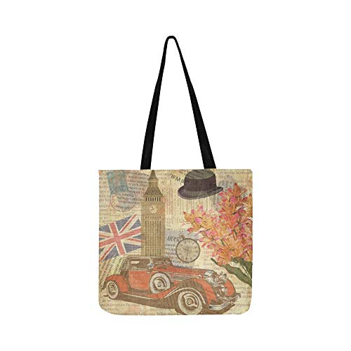 (London Vintage Postcard Canvas Tote Handbag Shoulder Bag Crossbody Bags Purses For Men And Women Shopping Tote)