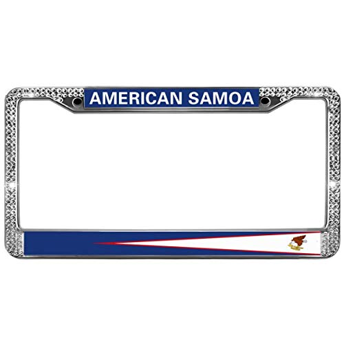 GND American Flag Eagle Diamond License Plate Frame,American Samoa License Plate Frame Tag Crystal Stainless Steel License Plate Holder for Auto Car SUVs