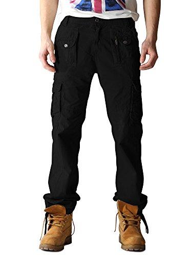 Cargo 3380 Poches Multi Ochenta Homme Noir Coton Pantalon Mince Type En EUFnSq