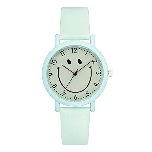 Loweryeah Student Smiley Watch Cartoon Smiley Face Pattern Mirror Digital PU Wrist Watch