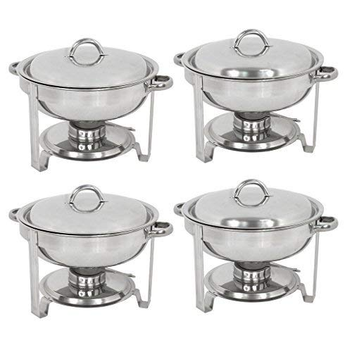 ZENY Pack of 4 Round Chafing Dish Full